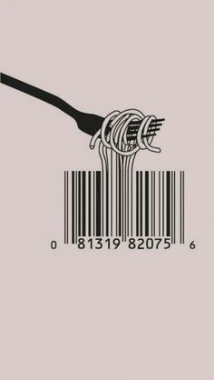 Spaghetti Barcode Fork iPhone 5 Wallpaper - http://freebestpicture.com/spaghetti-barcode-fork-iphone-5-wallpaper/