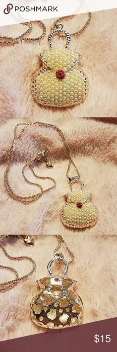 Betsey Johnson Purse Necklace NWOT. Adorable, long chain, tiny pearl purse necklace. Betsey Johnson Jewelry Necklaces