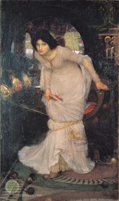 """She left the web, she left the loom,  She made three paces thro' the room,  She saw the water-lily bloom,  She saw the helmet and the plume,  She look'd down to Camelot.  Out flew the web and floated wide;  The mirror crack'd from side to side;  """"The curse is come upon me,"""" cried The Lady of Shalott.   excerpt - Tennyson, 1842"""