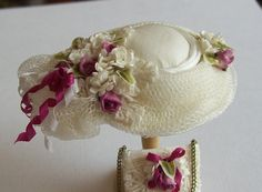 1/12th scale handmade miniature dollhouse silk hat and matching bag