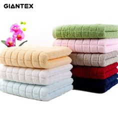 GIANTEX Plaid Hotel Towels 150g Soft Cotton Face Towel For Adults Thick Bathroom Super Absorbent Towel 34x76cm U1053