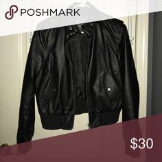 Black faux leather jacket Black faux leather jacket. Very comfy and stylish. Brand is Last Kiss Jackets & Coats