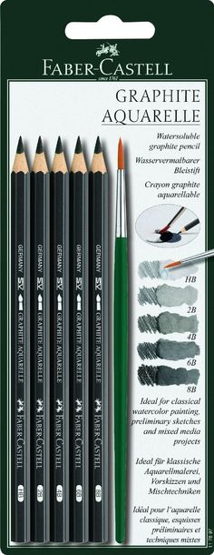 Amazon.com: Faber-Castell Graphite Aquarelle Water-soluble Pencils assorted set of 5 with brush: Office Products