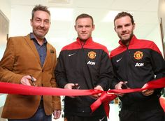 @manutd forwards Wayne Rooney and Juan Mata open a new gym facility at Christie Hospital, Manchester.