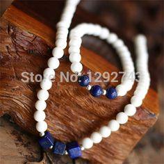 Royal Blue Cube Pendant White Stone Beads Jewelry Set