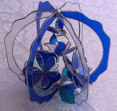 Cobalt Blue 3 D Stained Glass Suncatcher with 3 Flowers and Blown Glass Hummingbird on Etsy, $99.00