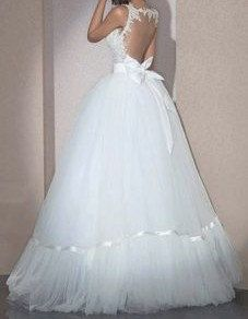 Vintage lace bodices open back tulle ball gown with by MissBrides, $299.00