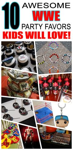 Great WWE party favors kids will love. Fun and cool WWE birthday party favor ideas for children. Easy goody bags, treat bags, gifts and more for boys and girls. Get the best WWE birthday party favors any child would love to take home. Loot bags, loot boxes, goodie bags, candy and more for WWE party celebrations. Wrestling Birthday Parties, Wrestling Party, Wwe Birthday, Party Favors For Kids Birthday, 3rd Birthday Parties, Birthday Ideas, Goodie Bags, Treat Bags, Wwe Party
