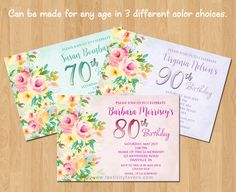 Floral 60th, 70th, 80th, 90th Birthday Party Invitations $1.00 each item_961/Floral-80th-Birthday-Party-Invitations.htm