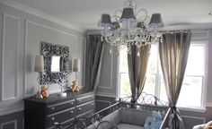 beautiful grey and silver luxury baby boy nursery Baby Boy Rooms, Baby Boy Nurseries, Iron Crib, Nursery Inspiration, Nursery Ideas, Room Ideas, Grey Room, Grey Furniture, Hollywood Glamour