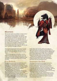 DnD Homebrew — Mantids Race by DoctorGlorious Dungeons And Dragons Races, Dungeons And Dragons Homebrew, Dnd Characters, Fantasy Characters, Gerardo Gonzalez, 5e Races, Science Fiction, Dnd Stories, Dnd Classes