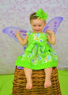 Girls Tinkerbell Dress babys toddlers 2T 3T 4T by LilMissPrissPot, $55.00