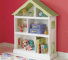 Land of Nod, paint back of bookcases a green similar to this and use this as a play house/