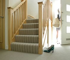 Striped bargain carpet from Victoria Carpets --because hardwood stairs are pretty but can get slippery for children or pets Stairway Carpet, Hallway Carpet, Carpet Stairs, Wall Carpet, Best Flooring, Carpet Flooring, Living Room Carpet, Bedroom Carpet, Striped Carpets