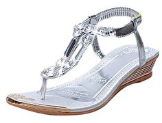 Womens Fashion Bohemian Beading Ankle Strap Thong Flat Flipflop Shoes Sandals 55 BM US SILVER * You can find more details by visiting the image link.
