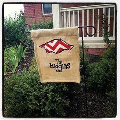 Burlap Razorback Garden Flag- love it! by Saravirginia
