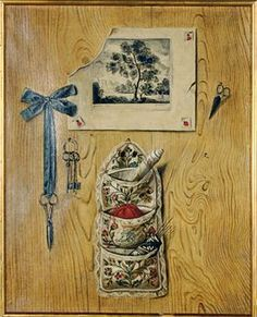 French School, 18th Century   Trompe l'oeil: Still life with sewing materials and a french engraving against a wooden wall   oil on canvas