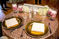 Items supplied by STTK: Gold Charger Plates and Rose Gold Glitz Linen- Other items by other professionals.
