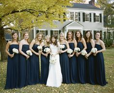 Navy Bridesmaids Dresses | photography by http://abryanphoto.com/