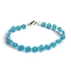 Blue and yellow forget-me-not style daisy chain by BeadMagpie