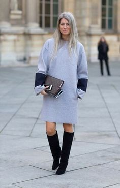 Slouchy grey with boots