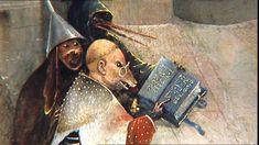 La temptació de Sant Antoni, Museu Nacional d'Art Antiga, Hieronymus Bosch, Lisboa, criatura mítica, renaixentista, Llibre, ulleres, Stock Footage,