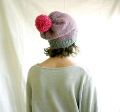 Slouchy Knit Beanie Hat  Grey & Hot Pink by cammobear on Etsy, $40.00