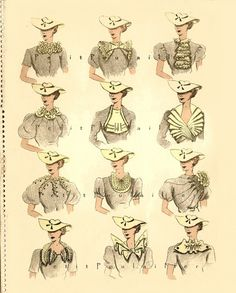 Paris Neckline and Collar Couture 1934 French Fashion Pochoir Print