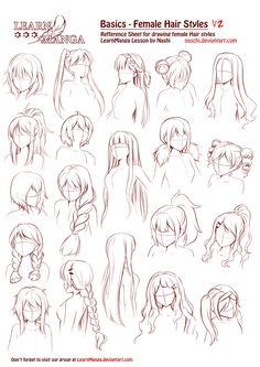 Learn Manga Basics Female Hair styles V2 by Naschi on DeviantArt