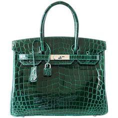 HERMES BIRKIN 30 Bag Emerald Emeraude Green Crocodile Palladium 1