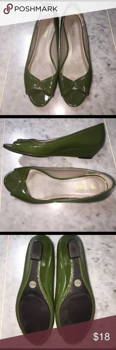 Me Too Green Peep Toe Wedges - 7.5M Low heel wedge, super cute for spring! Some scuffs/nicks on heels and black mark on back of right shoe. me too Shoes Wedges