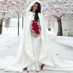 $129-Gorgeous White/Ivory Hooded Bridal Winter Wedding Cloak Cape 2016 Faux Fur Long Train Bridal Wraps Custom Wedding Accessories