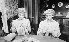Lucy and Ethel knitting together on I Love Lucy vintage TV.  Wonder what the're making? #KnittingGuru ** http://www.KnittingGuru.etsy.com