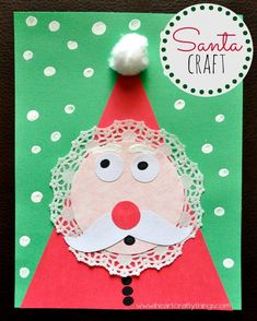 Adorable Kids Santa Craft made out of a doily. Fun Christmas craft for kids.
