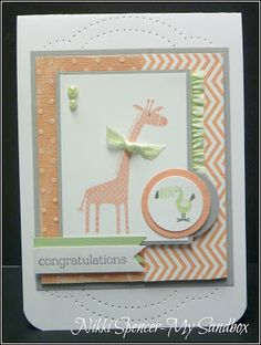 Stampin Up Zoo Babies - super cute baby card by Nikki Spencer