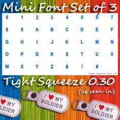 Mini Font SET of 3 - Includes THREE FULL Fonts!-These three mini fonts are a great pairing for your new TheBeanStitch designs! This listing is for three full alphabets (see below). These fonts have been designed and tested with marine vinyl. Embroidery Fonts, Embroidery Applique, Small Font, Kam Snaps, Dog Tags Military, Machine Embroidery Projects, Glitter Vinyl, Key Fobs