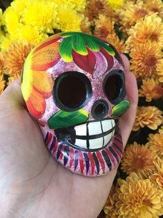 Awesome Vintage Day of the Dead Dia de los Muertos Painted Sugar Skull Ceramic Sculpture Figure Figurine