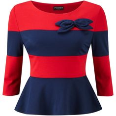 FEVER LONDON BOSTON BOW TOP NAVY RED | FEVER LONDON | FASHION BRANDS |... ($86) ❤ liked on Polyvore featuring tops, shirts, peplum, red, stripe, red top, blue stripe shirt, navy shirt, striped peplum top and navy striped shirt