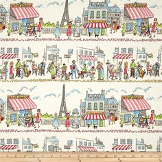 Michael Miller Essentials Paris Ville Multi from @fabricdotcom  From Michael Miller, this cotton print is perfect for quilting, apparel and home decor accents.  Colors include white, blue, pink, yellow, green, grey. black and brown.
