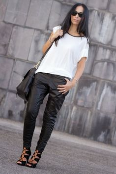 Veronica of Without or Without Shoes in the AW13 Muubaa Kirin Leather Trousers in Black