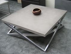 """Mobius Concrete Coffee Table $2,750.00  Square - 42""""L x 42""""W x 18""""H (Model TBL-MOB-42)  Mobius Table in Frost"""