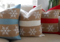 Christmas snowflake burlap pillow cover 18x18 by LowCountryHome