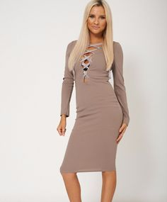 Female Lace Up Front Mocha Dress With Long Sleeve