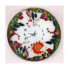 Farm wall clock Painted Glass Wall Decor Houses Glass Art Boho decoration Vintage style Birthday present Home decor Personalize gift Wall Clock Painting, Vintage Style, Vintage Fashion, Personalized Gifts, Handmade Gifts, Birthday Presents, Boho Decor, Glass Art, Wall Decor