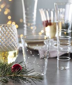 Made from hand-worked borosilicate glass, Mardi Gras textured glasses will add sparkle and personality to any party. Each glass features a unique pattern, including stripes, dots, and swirls. They are available as flutes, tumblers, goblets and stemless wine glasses.