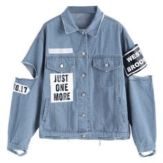 Letter Patched Cut Out Ripped Denim Jacket ($40) ❤ liked on Polyvore featuring outerwear, jackets, tops, denim jacket, patch jacket, distressed jacket, letter jacket and blue jean jacket