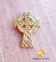 Celtic style cross with 4 intricate cut outs in relief with gold plated detail. Name Badges, Pin Badges, Make Your Own Badge, Custom Badges, Cut Outs, Celtic, Detail, Create, Gold