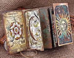 Wrappd Journal Tutorial for Eileen Hull Designs Handmade Journals, Handmade Books, Handmade Notebook, Journal Covers, Art Journal Pages, Tarot, Scrapbook Examples, Album Scrapbook, Art Journal Tutorial