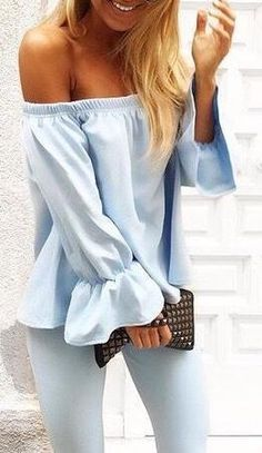 all blue. minimal street style. off shoulders top.