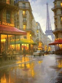 Paris street in the rain  Tower in background Cómo hablarte de París en ésta tarde que llueve mientras espero en una esquina sin recuerdos…?  Cómo podré decirte del aroma de estas calles,  sus ruidos y luces y la extraña emoción de caminar sin rumbo siguiendo un llamado silencioso?  Me preguntas si estoy bien y sonrío mientras asiento… Cómo hablarte de París en ésta tarde que llueve…?